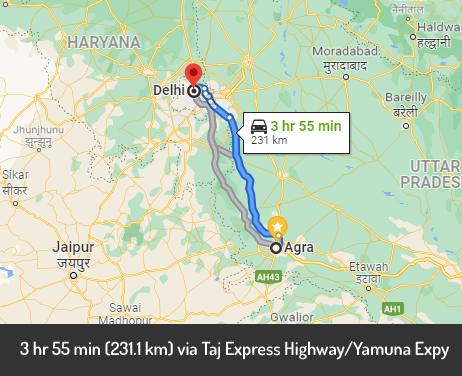 agra to delhi taxi route
